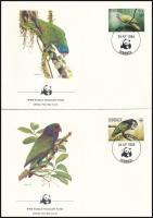 WWF: Madarak sor  4 db FDC-n, WWF Birds set on 4 FDC