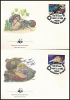 WWF: Sea snails and shells set on 4 FDC, WWF: Tengeri csigák és kagylók sor 4 db FDC-n