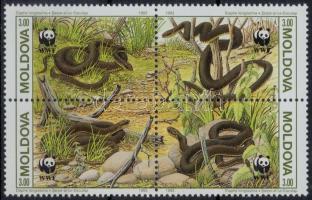 WWF: Snake set on 4 FDC + block of 4, WWF: Kígyó sor 4 FDC-n + négyestömb