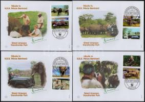 WWF African elephant coupon set on 4 FDC, WWF Afrikai elefánt szelvényes sor 4 FDC-n