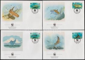WWF: Sea creatures set on 4 FDCs, WWF: Tengeri állatok sor 4 db FDC-n