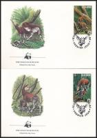 WWF: Okapi set on 4 FDC, WWF: Okapi sor 4 db FDC-n