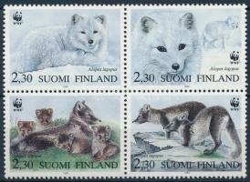 WWF Arctic fox set block of 4 + 4 FDC, WWF: Sarki róka sor négyestömbben + 4 db FDC- n