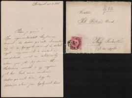 1882 VÉDETT! Szél Piroska (1865-1886), Arany János unokájának levele apjának, Szél Kálmán nagyszalontai esperesnek, amelyben egy bál leírása mellett Arany János egészségi állapotáról számol be. 6 beírt oldal