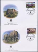WWF African elephant set on 4 FDC, WWF Afrikai elefánt sor 4 FDC-n