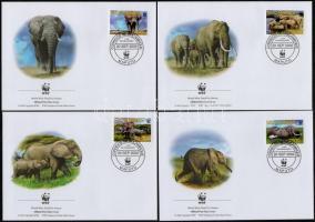 WWF African elephant set on 4 FDC-s WWF Afrikai elefánt sor 4 FDC-n