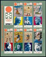 Winter Olympic Games, Sapporo imperforated minisheet Téli olimpiai játékok, Sapporo vágott kisív