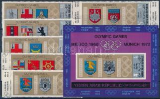 1968 Nyári olimpiai helyszínek címerei ívszéli sor Mi 832-837 + blokk Mi 84