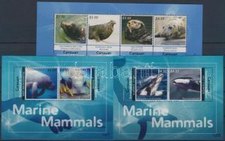 Marine mammals mini sheet + blockset, Tengeri emlősök kisív + blokksor
