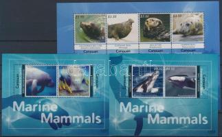 Marine mammals minisheet + blockset, Tengeri emlősök kisív  + blokksor