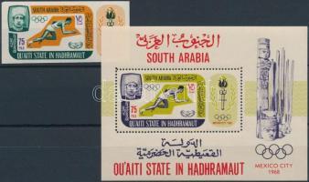 Nyári olimpia, Mexikóváros vágott bélyeg + fogazott blokk, Summer Olympics, Mexico City imperforated stamp + perforated block