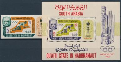 Summer olimpics imperforated stamp + perf. block, Nyári olimpia, Mexikóváros vágott bélyeg + fogazott blokk