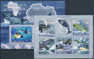 Mammals: whales minisheet + block, Emlősök: Bálnák kisív + blokk