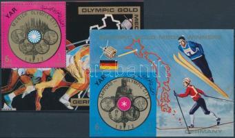 1970 Német olimpiai aranyérmesek fogazott és vágott blokk Mi 149-150
