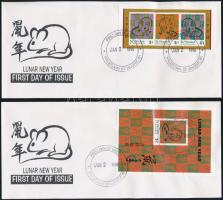 Year of the Rat mini sheet + block 2 FDC, A Patkány Éve kisív + blokk 2 FDC-n