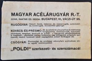 cca 1920 Magyar Acélárugyár hirdetmény. Puha merített papíron. 46x29 cm