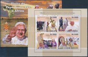 2010 Benedek pápa afrikai utazása kisív + blokk Mi 4378-4381 + 754