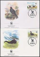 WWF Caucasian black grouse set 4 FDC + block of 4, WWF Kaukázusi nyírfajd sor 4 FDC-n + négyestömb