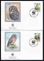 WWF Owls set 4 FDC + set WWF: Baglyok sor 4 db FDC-n + sor