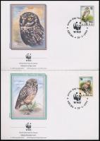 WWF Owls set 4 FDC + set (40c gum disturbance), WWF: Baglyok sor 4 db FDC-n + sor (40c hátoldalán betapadás)