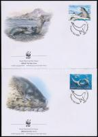 WWF Leopard Seal set 4 FDC + block of 4, WWF: Leopárdfóka sor 4 FDC-n + négyestömb