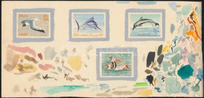 4 original handpainted sketches of Ferenc Gál for the Birds and fishes issue Gál Ferenc grafikusművész 4 db Madarak és halak témában készült eredeti kézzel festett vázlata