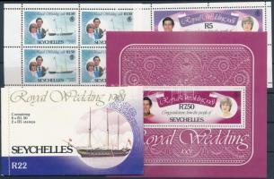 Prince Charles and Lady Diana Spencer's wedding mini sheet set + block + stamp-booklet, Károly herceg és Lady Diana Spencer esküvője kisívsor  + blokk + bélyegfüzet