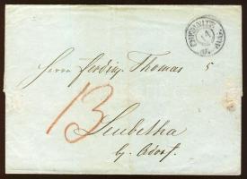 1844 Portós levél / Cover with 13Pf postage due CHEMNITZ-Leubetha