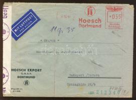 1941 Cenzúrás légi levél Budapestre / Censored airmail cover to Hungary