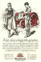 A jó olaj a legjobb gépész. Gargoyle Mobiloil olaj reklámlap traktorral. Hornyánszky Viktor kiadása / Hungarian oil advertising card, folklore, tractor (fa)