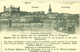 1900 Pozsony, Pressburg, Bratislava; Vár, gőzhajó. Luszt Ármin kiadása, Francois Kühmayer reklám / castle, steamship. advertisement