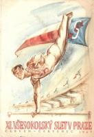 1948 XI. Vsesokolsky Slet v Praze / 11th Sokol meeting in Prague. advertisement card (EK)