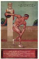 1912 Marathon-Penthathlon. VI. Slet Vsesokolsky v Praze / 6th Sokol meeting in Prague. advertisement card s: K. V. Mutticha