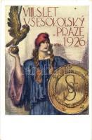 1926 VIII. Slet Vsesokolsky v Praze / 8th Sokol meeting in Prague. advertisement card s: F. Naskeho