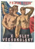 1938 X. Slet Vsesokolsky Praha / 10th Sokol meeting in Prague. advertisement card, So. Stpl s: Karla Minare (EK)