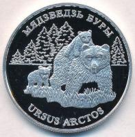 Fehéroroszország 2002. 20R Ag Barna medve kölykeivel T:PP fo. Belarus 2002. 20 Rubles Ag Brown Bear with two cubs C:PP spotted Krause KM#59