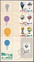 Balloon Post set + block on 4 FDC, Ballonposta sor + blokk 4 db FDC-n