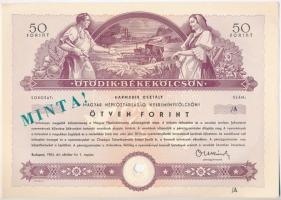 Budapest 1954. Ötödik Békekölcsön harmadik osztály, nyereménykölcsön 50Ft-ról, szárazpecséttel, sorszám nélkül, MINTA felülbélyegzéssel, lyukasztással érvénytelenítve T:I-.II