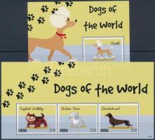 Dogs of the World minisheet set + 2 blocks A világ kutyái kisívsor + 2 blokk, 2 stecklapon