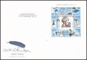 Astrid Lindgren mini sheet FDC Astrid Lindgren kisív FDC-n