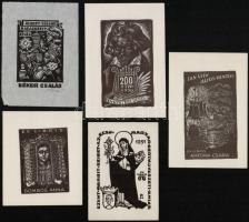 5 db ex libris, jelzéssel, jelzés nélkül, 12x9 cm