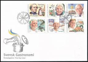 Gastronomy block of 6 FDC Gasztronómia hatostömb FDC-n