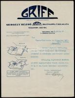 1925 Gergely Rezső Griff Iratmappa Vállalata díszes fejléces levél,, 30x23 cm