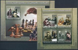 Mikhail Botvinnik, chess player mini sheet + block, 100 éve született Mihail Botvinnik, sakkozó kisív + blokk