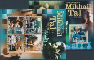 Mihail Tal's 75th birth anniversary , chess player mini sheet + block 75 éve született Mihail Tal, sakkozó kisív + blokk