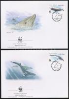 WWf Whale set on 4 FDC, WWF Bálna sor 4 FDC-n