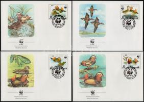 WWF Mandarin duck set 4 FDC, WWF Mandarinréce sor 4 FDC