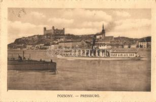Pressburg, Bratislava; castle, steamship, Pozsony, Pressburg, Bratislava; vár, gőzhajó. Glass & Tuscher kiadása