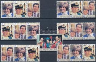 Diana and Prince Charles's wedding set 4 stripes of 3, Diana és Károly herceg esküvője sor + 4 db 3-as csíkban
