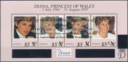2012 Lady Diana emlékére, Vilmos herceg és Kate Middleton első házassági évfordulója felülnyomott blokk Mi 58